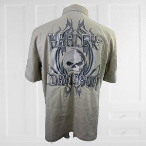 HARLEY DAVIDSON Men shirt M skull embroidered